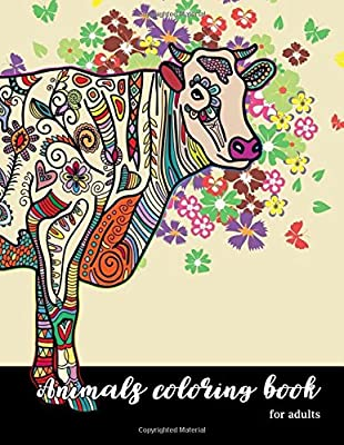 Coloring Page For Adults `Cat`, Graphic Animal, Doodle Flowers And ... | 400x310
