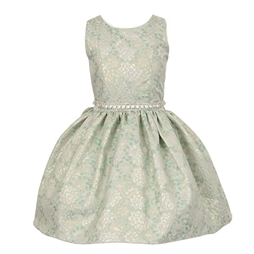6446eba7e Amazon.com: Big Girls Sage Jacquard Shiny Print Beaded Belt Flower ...