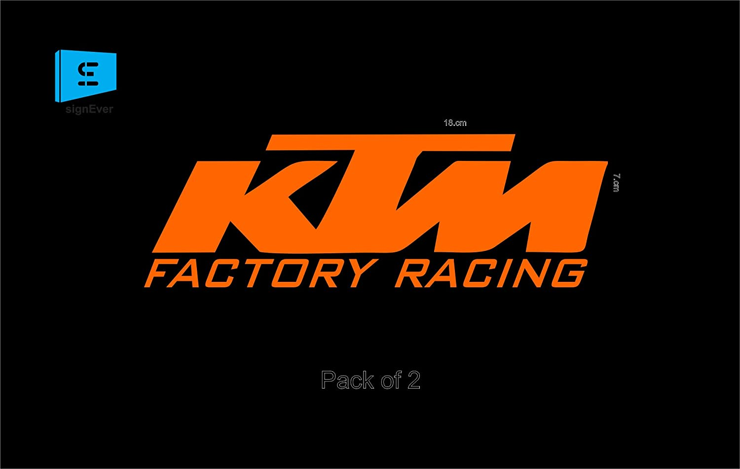 Sign ever duke ktm stickers for bike 390 200 250 factory racing orange decals l x h 18 x 7 cms pack of 2 amazon in car motorbike