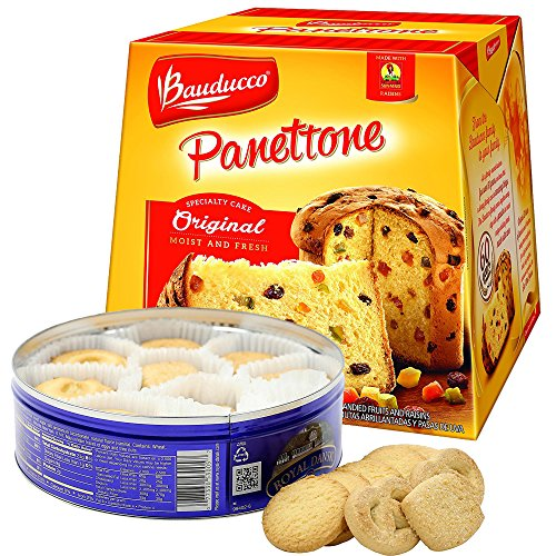 Bauducco Panettone Original 26.2 Oz Original Italian Recipe Specialist Cake Moist & Fresh Made With Candied Fruits & Raisins + Royal Dansk Danish Butter Cookies 12 Oz Holiday Basket Gift Set (Holiday)