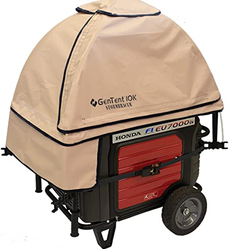 GenTent 10k Generator Tent Running Cover with Clear Vinyl Apron - Compatible with 3000w-10000w Portable Generators Standard, GreySkies Universal Kit Bundle
