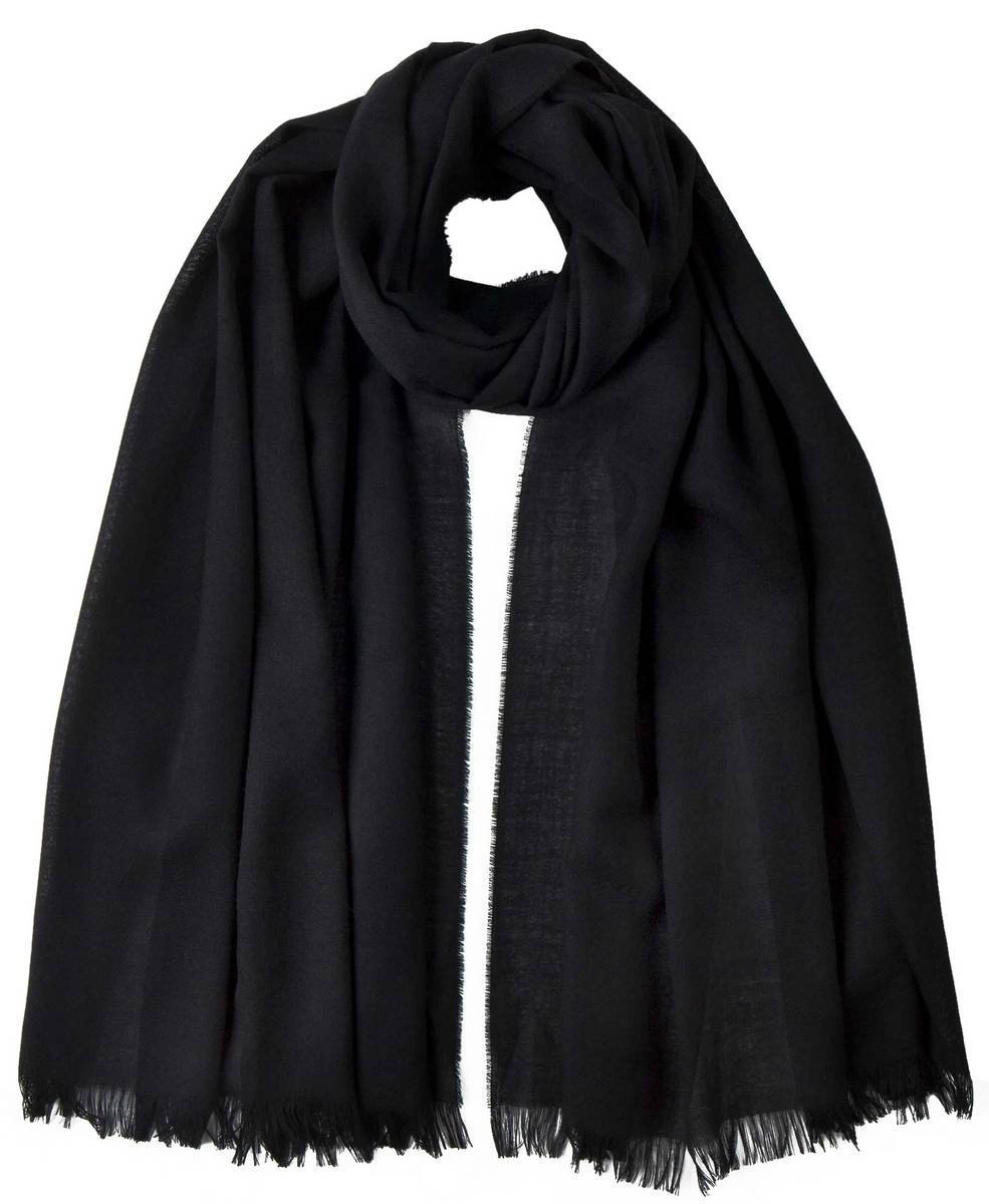 Black Extra Fine Wide Scarf by Johnstons of Elgin