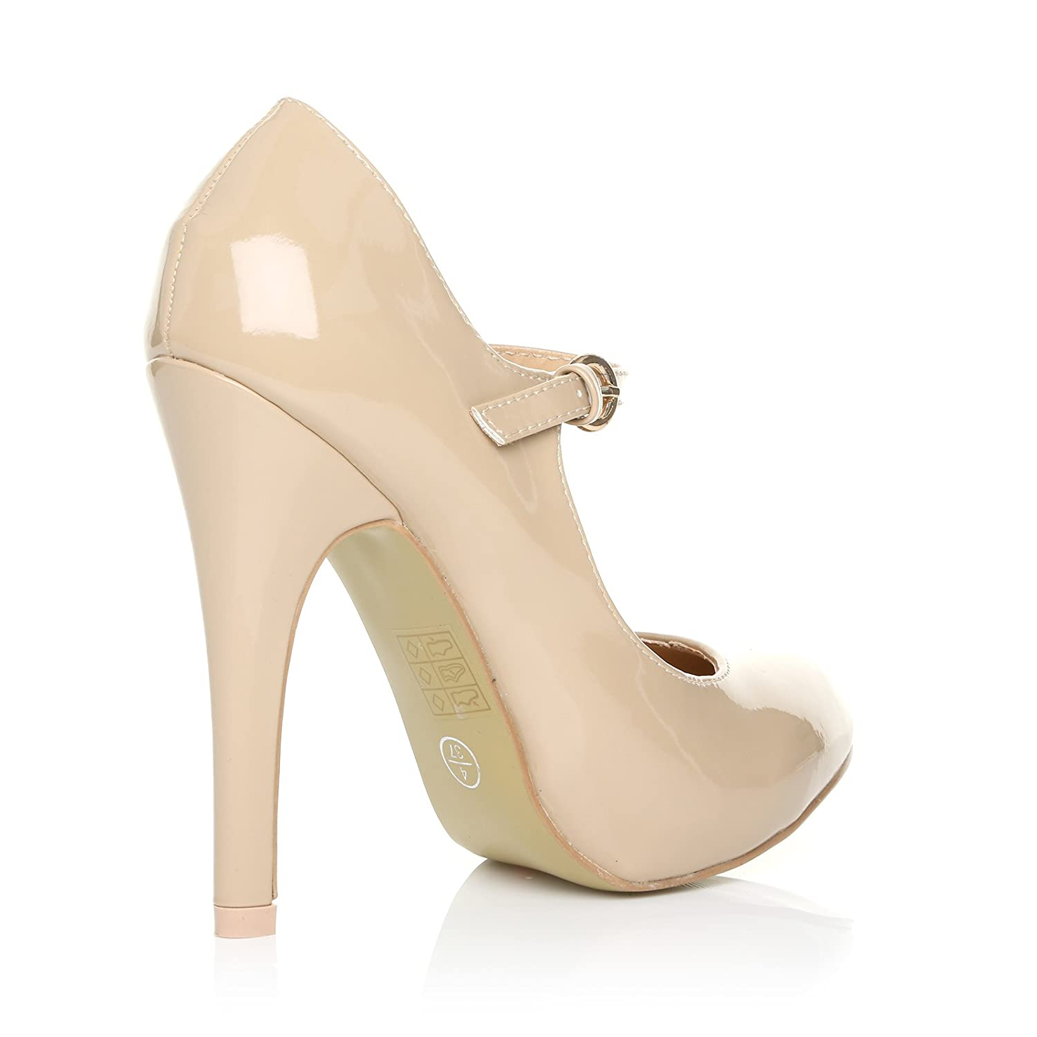 373935da7b8 MISCHA Nude Patent PU Leather Stiletto Very High Heel Mary Janes Shoes   Amazon.co.uk  Shoes   Bags