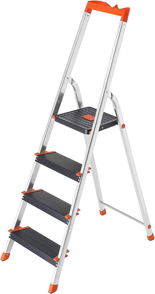 SONGMICS Escalera de 4 Peldaños, Escalera de Aluminio con Peldaños ...