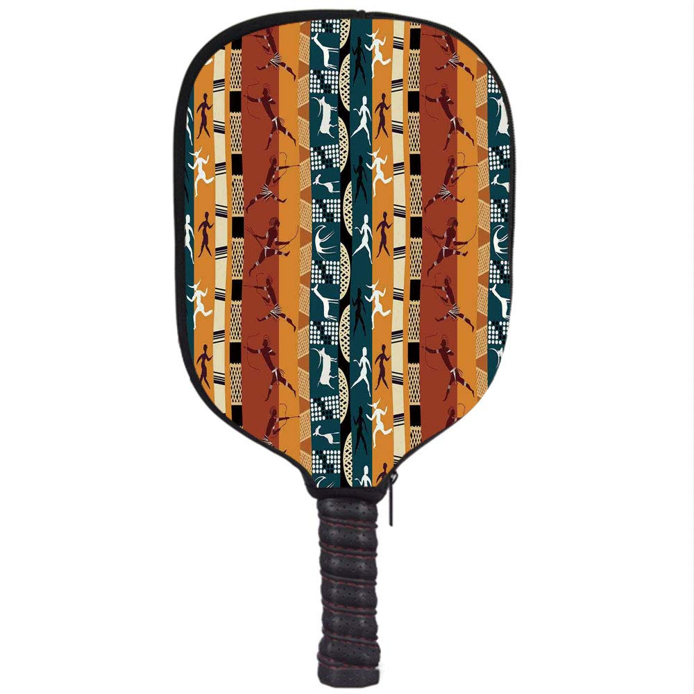 Amazon.com : iPrint Neoprene Pickleball Paddle Racket Cover Case, Primitive, Classic African Hunting Motifs with Primitive Human Animal Figures Giraffe Deer ...