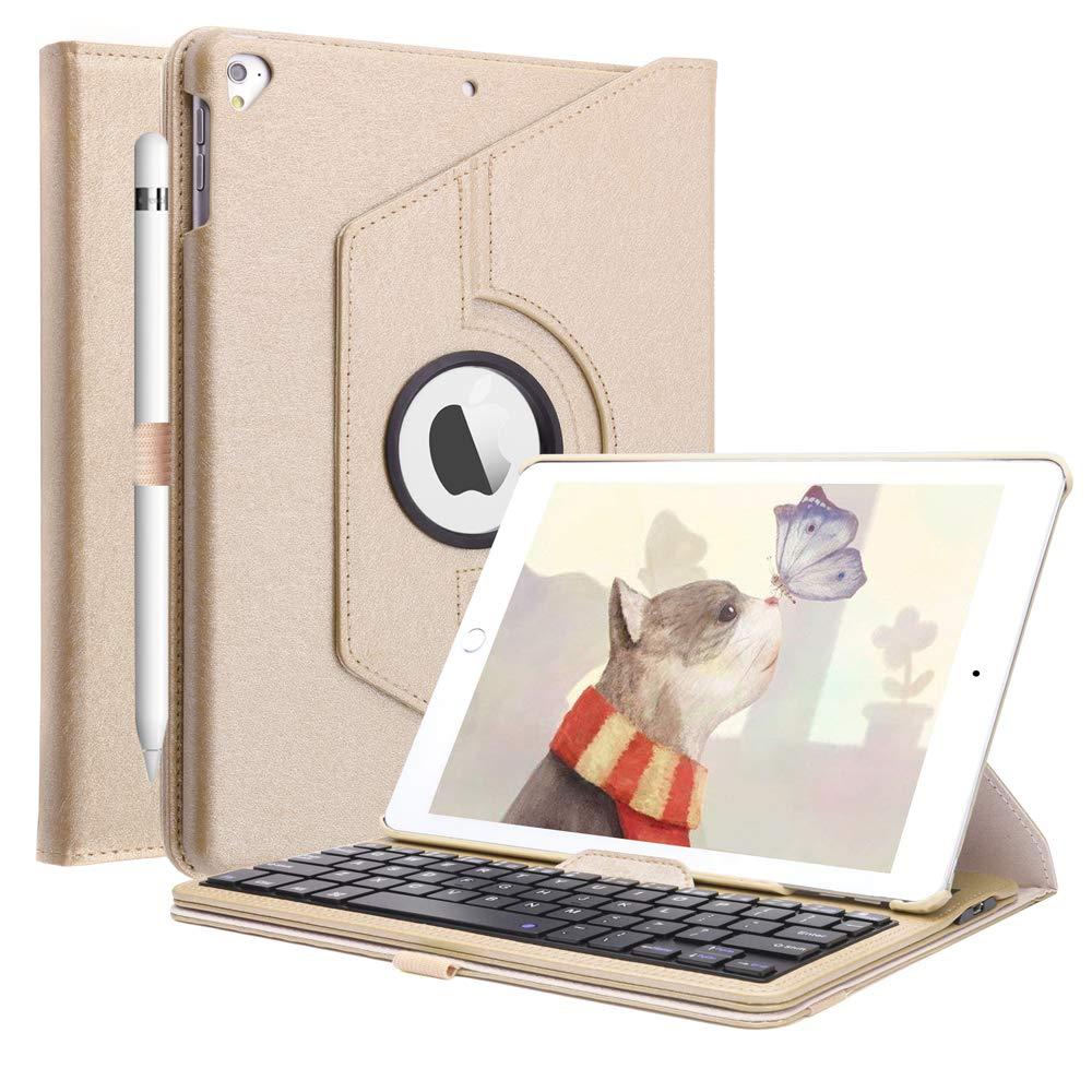 iPad Keyboard Case Compatible iPad 6th Gen 2018 /iPad 5th Gen 2017/ iPad Pro 9.7 2016 / iPad Air 2/ iPad Air -360 Degree Rotating Bluetooth Keyboard Cover with Pencil Holder, Gold