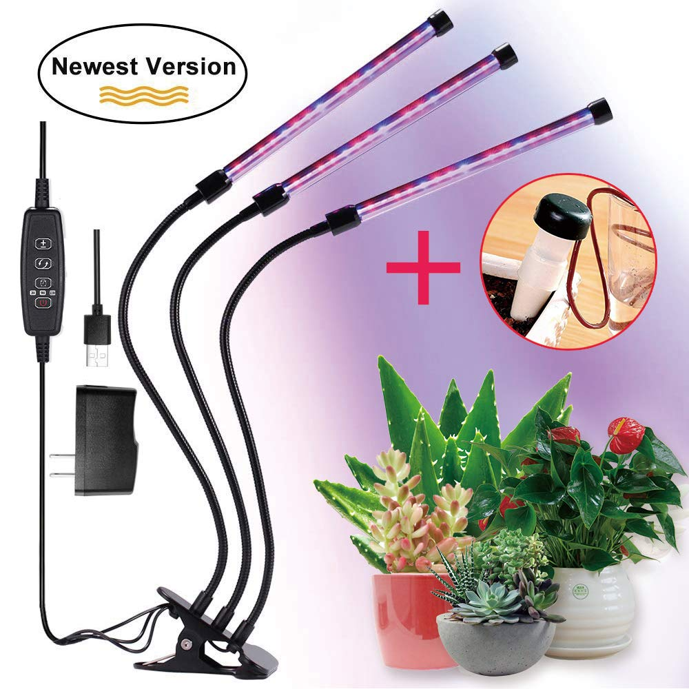 FancyGoo Plant Grow Lamp, LED Grow Light for Indoor Plants, 27W 54 LED Bulbs Timing Plant Grow Lights with Red, Blue Spectrum, 5 Dimmable Levels, 3/6/12H Timer, USB Charger by FancyGoo