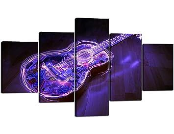 LIS HOME Purple Soul Light Guitarra eléctrica Pintura contemporánea Moderna en Lienzo Pósters enmarcados de 5 Piezas Arte de la Pared para la Sala de Estar ...