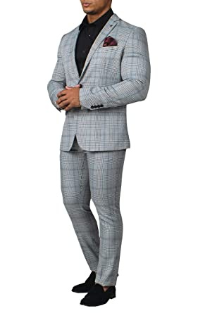 Avail London Mens Black and White 2 Piece Suit Slim Fit