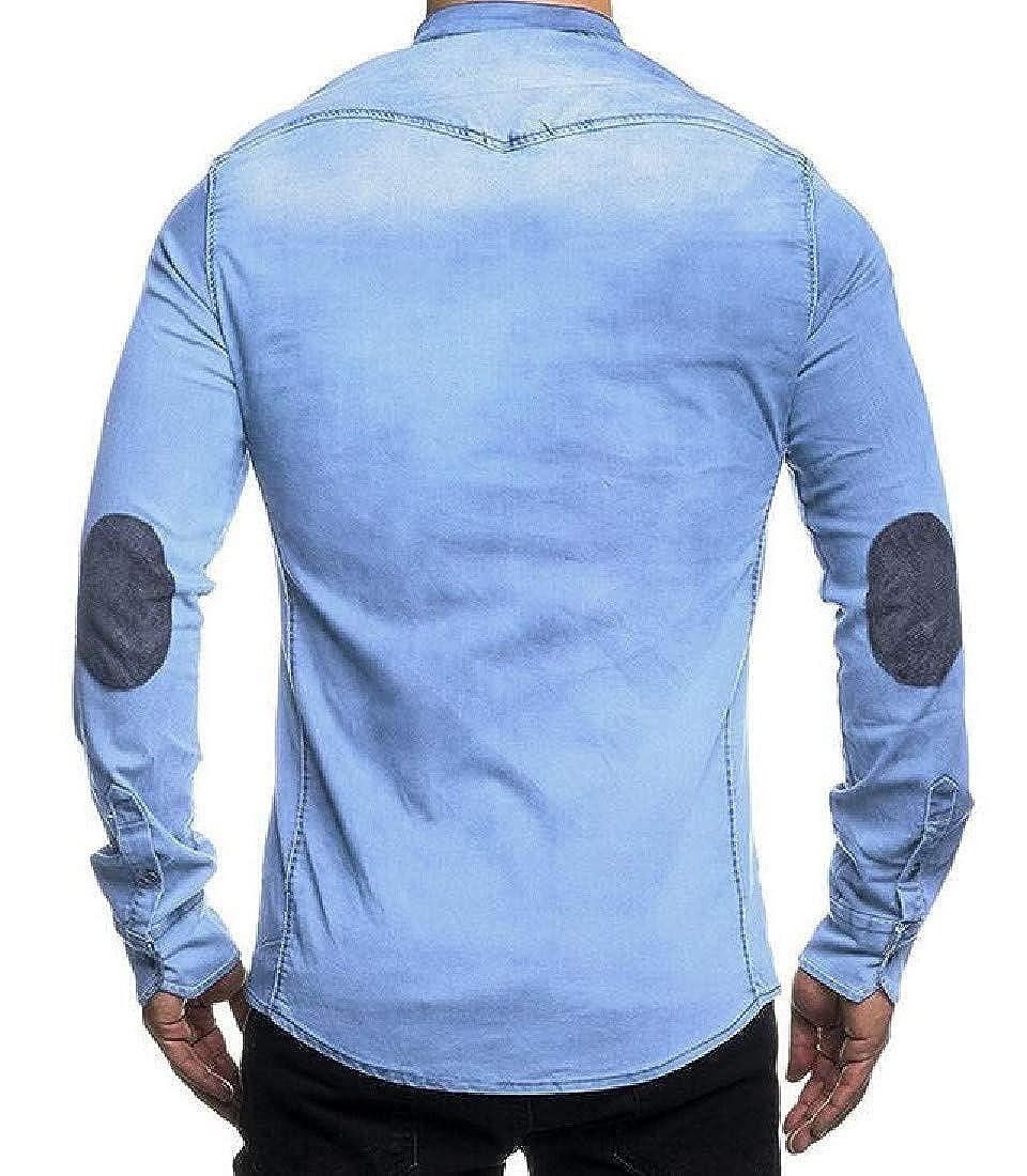BYWX Men Long Sleeve Buttons Fashion Denim Faux Suede Cotton Dress Shirts