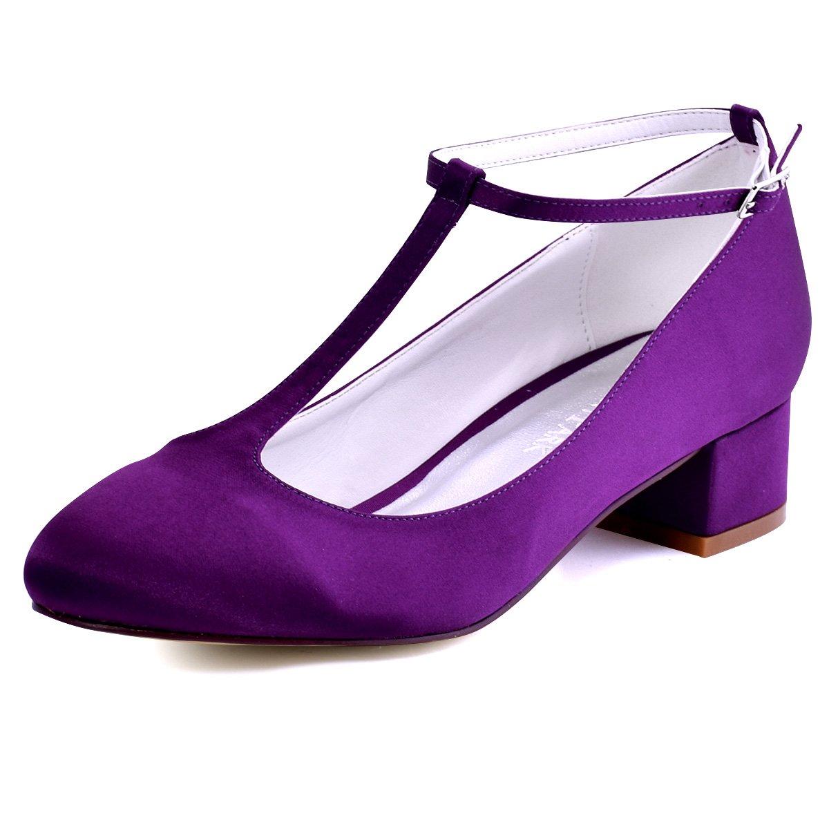 ElegantPark Mujer Cerrado Toe Chunky Tacón T-Correa Bombas Satén Zapatos de vestir de noche 39 EU|Morado