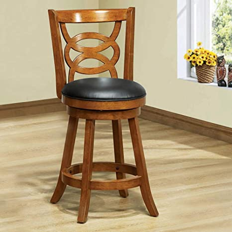 Enjoyable Monarch Specialties Ii 1252 Solid Wood High Swivel Counter Stool Oak 39 Pabps2019 Chair Design Images Pabps2019Com
