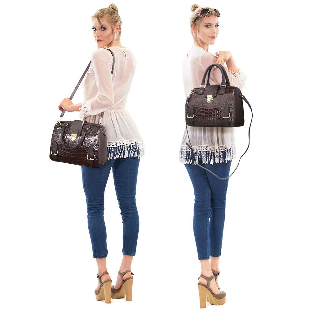 Dasein Women Barrel Handbags Purses Fashion Satchel Bags Top Handle Shoulder Bags Vegan Leather Tote Bags by Dasein (Image #2)