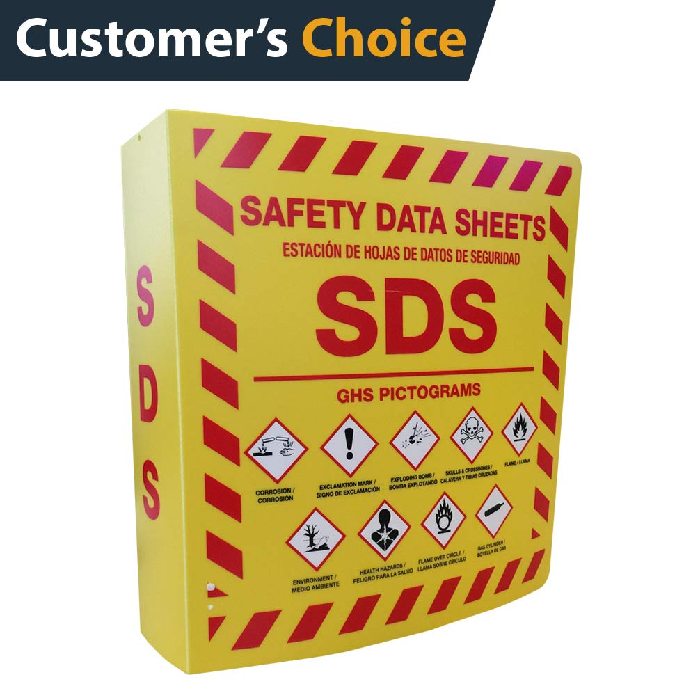 SDS Bilingual 3'' Ring Binder with GHS Pictograms, Holds 700+ Sheets