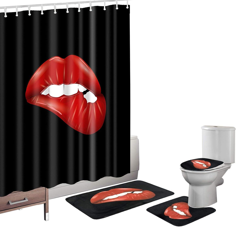 Red And Black Bathroom Decor.Details About Amagical Sexy Decor Red And Black Bathroom Decoration 16 Piece Bathroom Mat Set