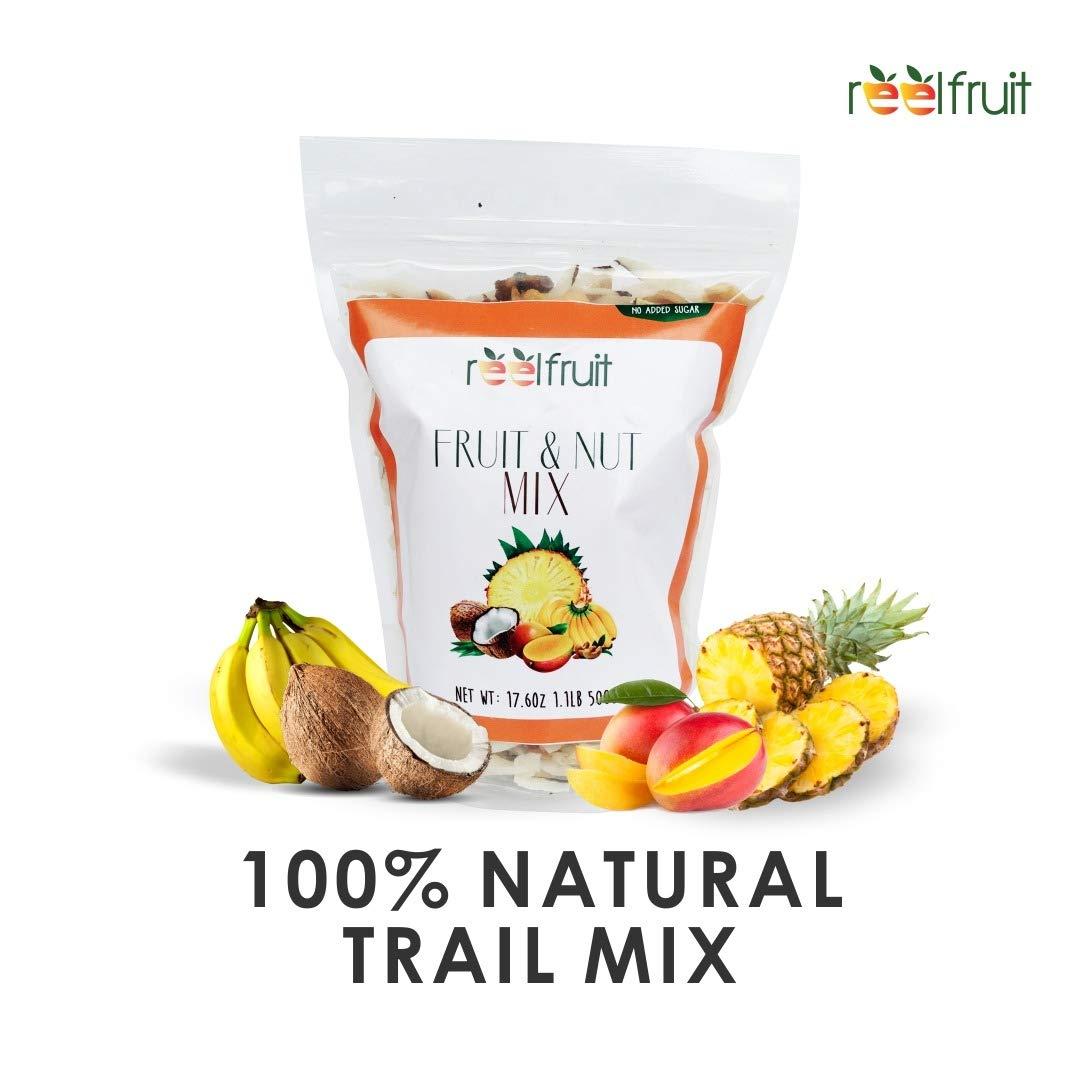 ReelFruit Non- GMO Premium Dried Tropical Fruit Mix, Cashews, Coconut, Mango Trailmix. No added Sugar Vegan Dehydrated Fruit Snacks & Made in Nature (250g - 8.80z) by ReelFruit