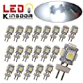 LEDKINGDOMUS 20 X G4 5 SMD 5050 LED Pure White RV Marine Boat Camper Light Bulb Lamp DC 12V sourcing is ledkingdomus