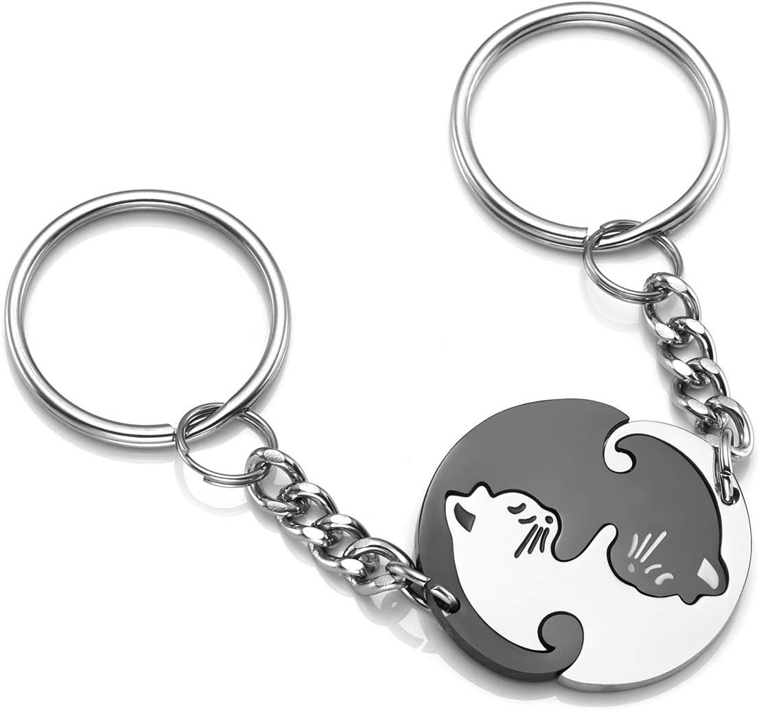Motif Puzzle Lot de 2 Porte-cl/és PiercingJ Paare Porte-cl/és en Acier Inoxydable pour Homme et Femme Argent/é//Noir//dor/é