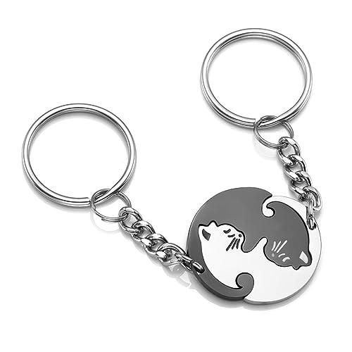 Edelstahl Schlüsselanhänger mit Gravur Puzzle Partner Anhänger mit Gravur