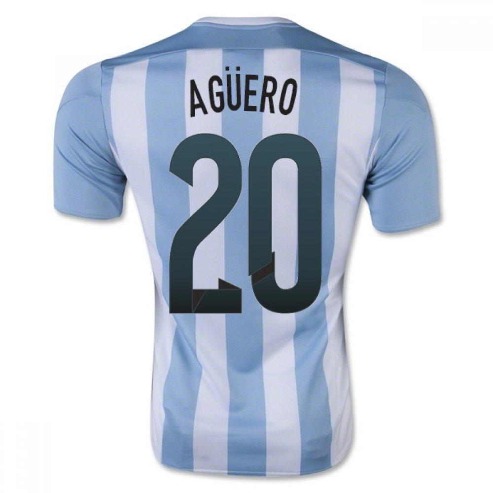 2015-16 Argentina Home Football Soccer T-Shirt Trikot (Sergio Aguero 20) - Kids