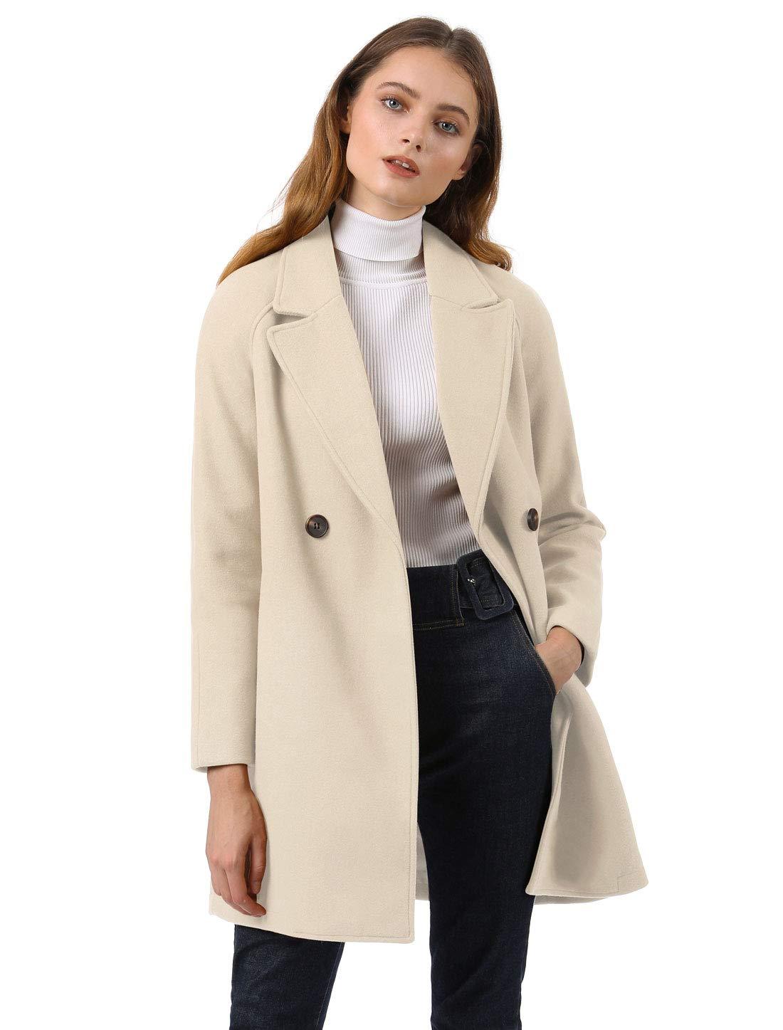 Allegra K Women's Notched Lapel Double Breasted Raglan Winter Coats Cream White L (US 14) by Allegra K