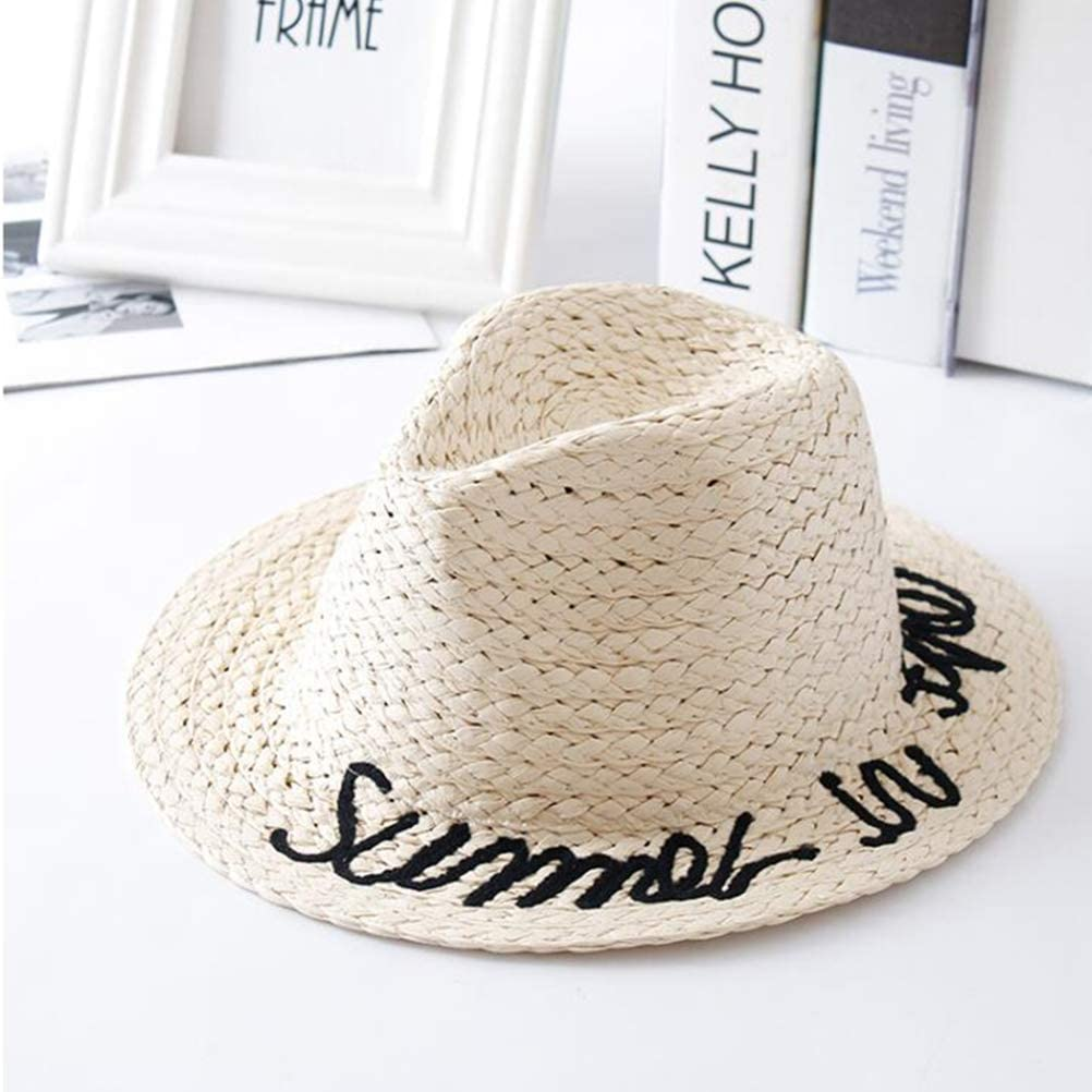 FENICAL Kid Straw Sun Hat English Vocabulary Decor Outdoor Sun Block Cap for Kid Girl Child Boy Beige