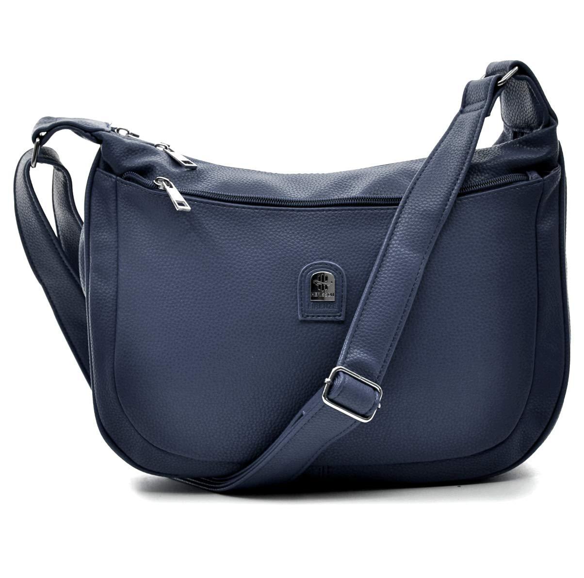 Borsa Herisson Firenze mezzaluna tracolla capiente sportiva comoda zip grande blu