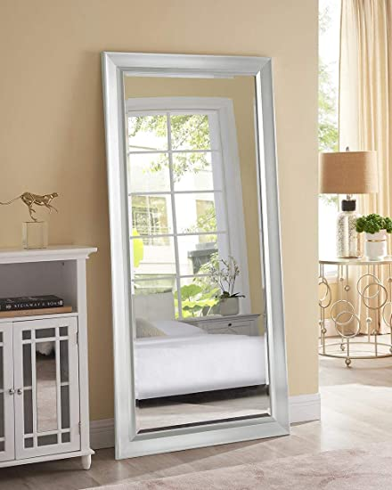 Naomi Home Framed Bevel Leaner Mirror Silver/66″ x 32″
