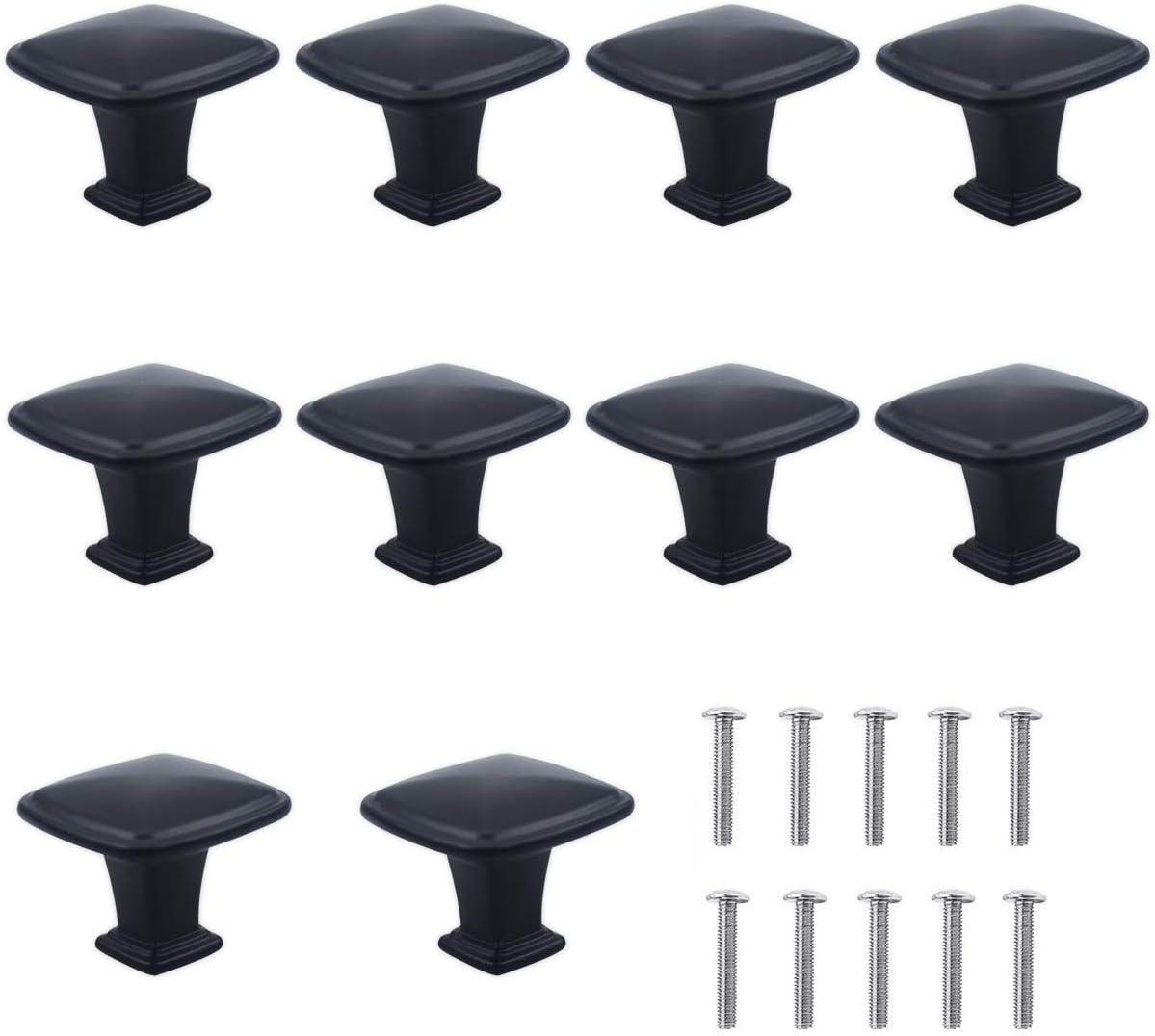 NATUCE 10PCS Negro Pomo de armario redondo, tirador para cajón, Pomos y Tiradores de Muebles, 30mm Pomos, pomos redondos, para Puertas, Armarios de Cocina,Cajones - un solo agujero (B)