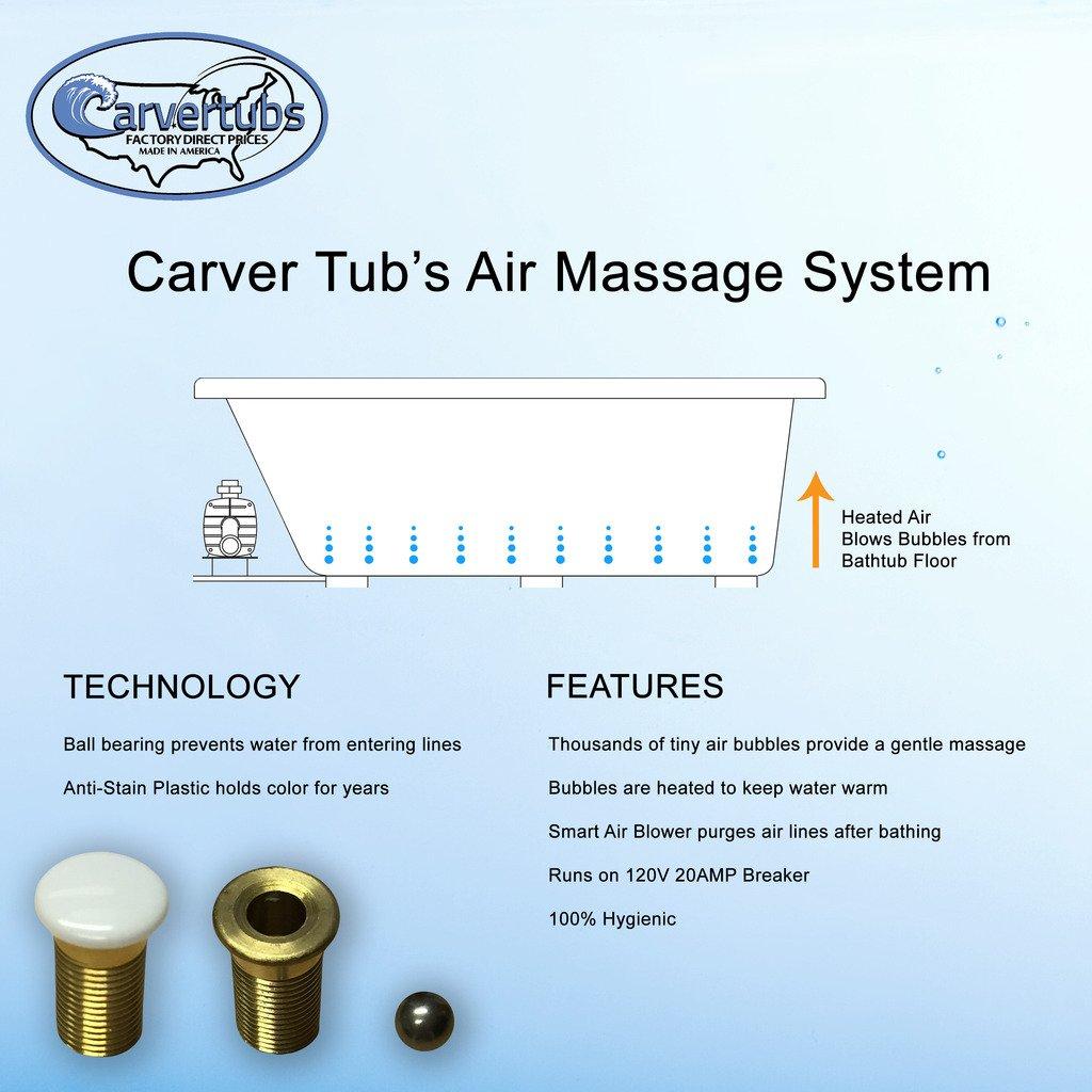 Carver Tubs - AR6532 Hygienic White Acyrlic Air Tub - 65\