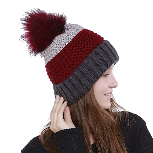 168b3e3fcf5 Image Unavailable. Image not available for. Color  Pom Pom Beanie Winter  Soft Slouchy Cable ...