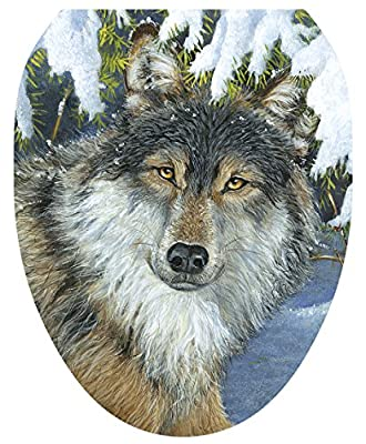 Toilet Tattoos, Toilet Seat Cover Decal, Lone Wolf in Snow, Size Elongated