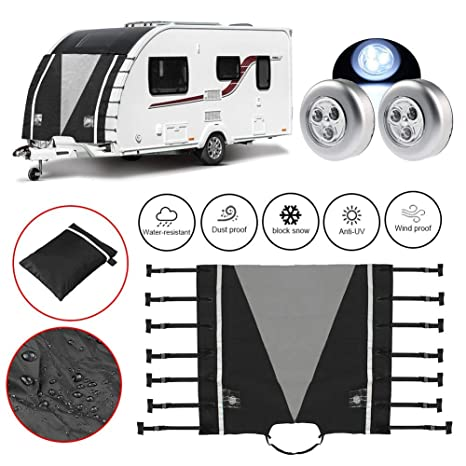 Globalflashdeal Universal Caravan Front Towing Cover Caravan Hitch Cover Protector Hitch Coupling Lock Cover Waterproof For RV Motorhome