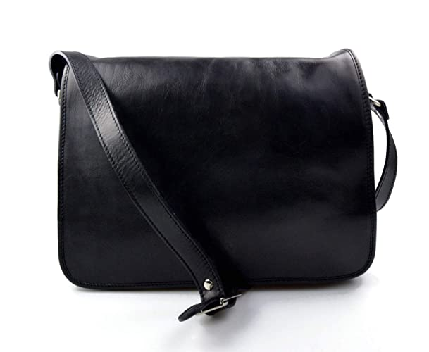 bcb53163f56a Amazon.com  Mens leather bag shoulderbag genuine leather briefcase messenger  black business document bag ladies executive bag  Handmade