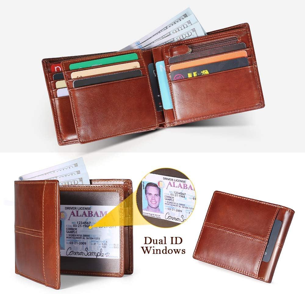 Cartera Hombre Cuero Cartera de Piel Monedero Tarjetro Billeteras RFID Bloqueo para 16 Tarjetas de Cr/édito con ID Ventana Slim Bifold Gran Capacidad Bolsillo con Cremallera Bronceado