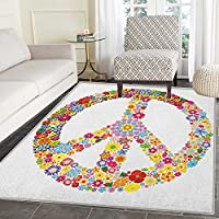 Groovy Non Slip Rugs Floral Peace Sign Summer Spring Blooms Love Happiness Themed Illustration Print Door Mats for inside Non Slip Backing 4x5 Multicolor