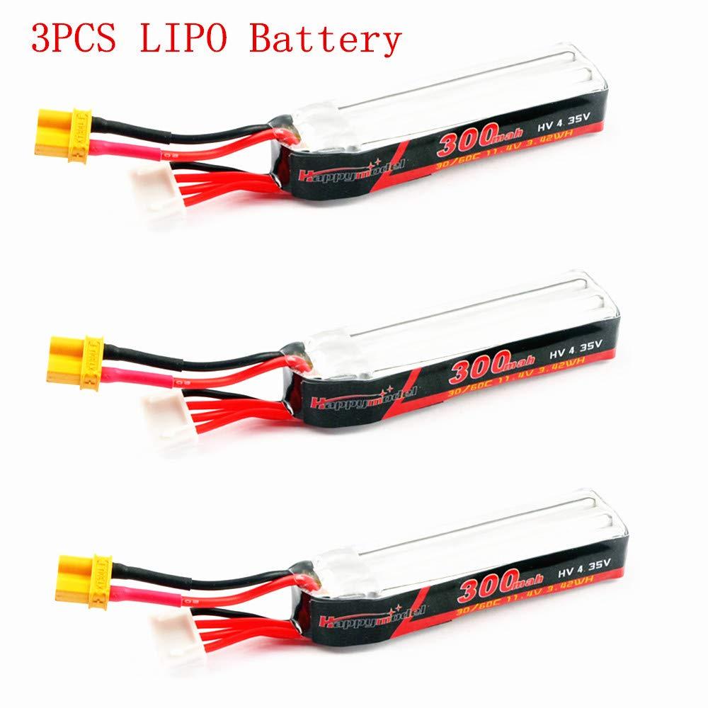 UR85HD RC Drone 3pcs PinShang Happymodel 300mAh 11.4V 30C//60C 3S XT30 Plug Lipo Battery for Mobula7 HD Sailfly-X URUAV UR85