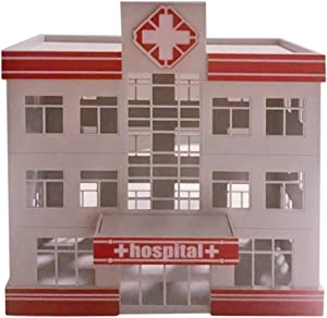 Yamix DIY 1:87 HO Scale Hospital Building Model for Railroad Scenery Landscape Layout