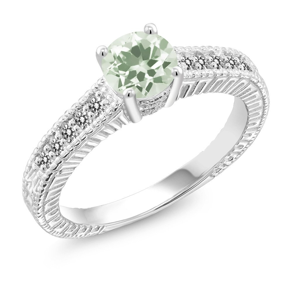 1.12 Ct Round Green Amethyst White Diamond 925 Sterling Silver Ring (Available in size 5, 6, 7, 8, 9)