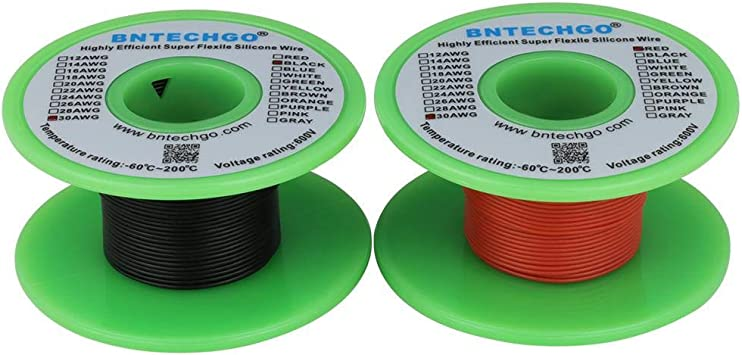 Bntechgo Calibre 16/Bobine de fil de silicone 100/Pieds Ultra Flexible haute temp/érature 200/deg C 600/V 16/AWG Fil de silicone 252/brins de fil de cuivre /étam/é 15,2/m Noir et rouge 15,2/m dor/&ea