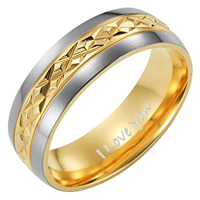 New Mens Two Tone 7mm Titanium Ring Engraved I Love You In Velvet