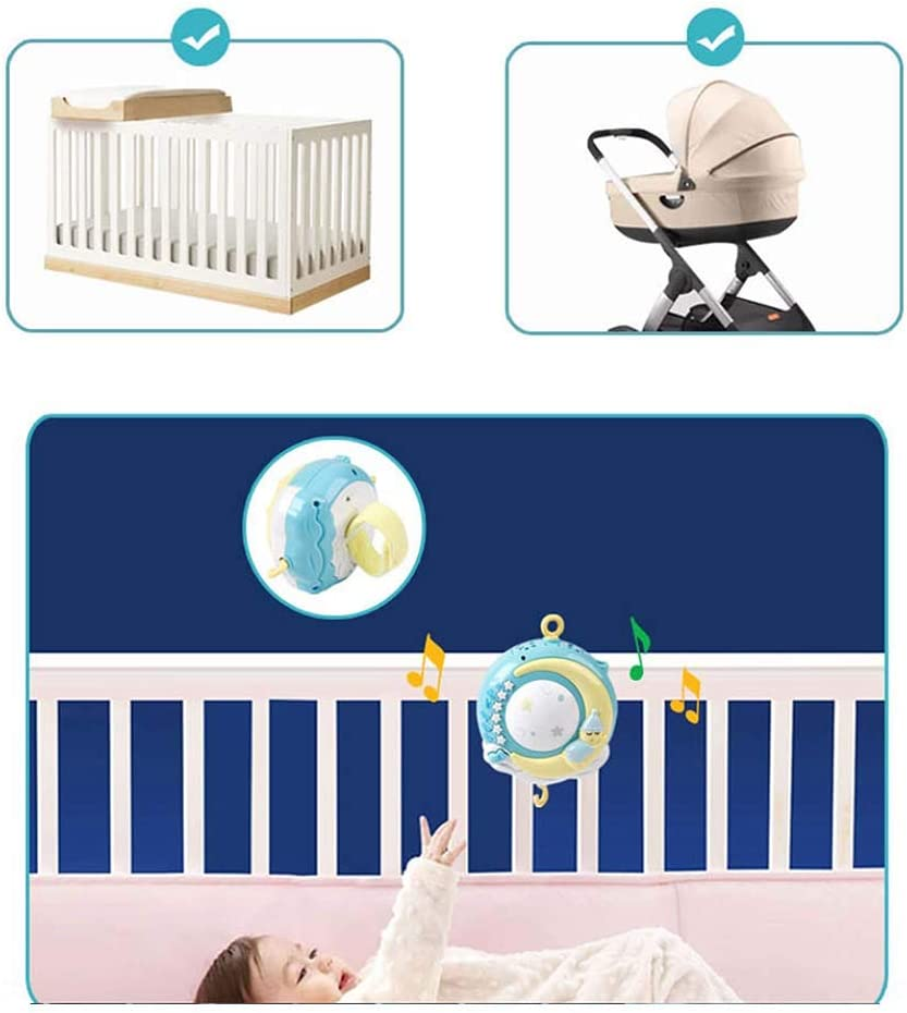 cuna m/óvil con luz nocturna y proyector control remoto y juguete para empacar y jugar Moonvvin Baby Mobile para cunas con m/úsica Azul