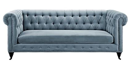 Tov Furniture The Hanny Collection Elegant Velvet Fabric Upholstered Wood  Living Room Sofa Couch, Gray