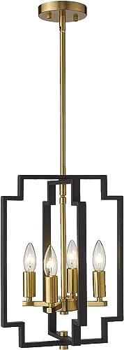 Emliviar 4-Light Lantern Chandelier, Farmhouse Dining Room Pendant Lighting, Black and Gold Finish, JE1981-D4 BK G