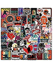 Hockey Stickers Pack  50pcs Vinyl PVC Waterproof Hockey Sport Stickers for Scrapbooking Car Hockey Helmet Sticks Laptop Computer, Ice Hockey Scrapbooking Stickers Decal for Adults Teen Boys and Girls