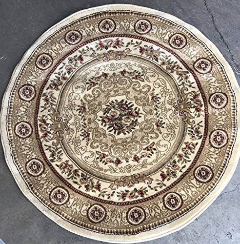 - Persian Traditional Round Floral Aubusson 500,000 Point Area Rug Design 403 Ivory (4 Feet X 4 Feet)