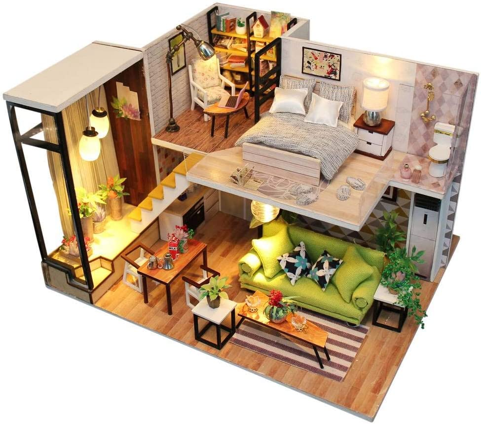 Architecture Model Building Kits with Furniture LED Music Box Miniature Wooden Dollhouse Romance Europe Series 3D Puzzle Challenge