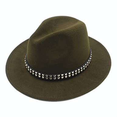 c8ce8555b Amazon.com: Retro Wool Outback Fedora Hat with Wide Brim Gangster ...