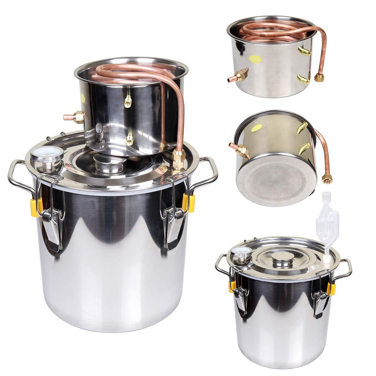 Goetland 3 Gallons Moonshine Still Spirits Kit Water Alcohol Distiller Home Brew Wine Making Kit Oil Boiler Copper Tube Stainless Steel