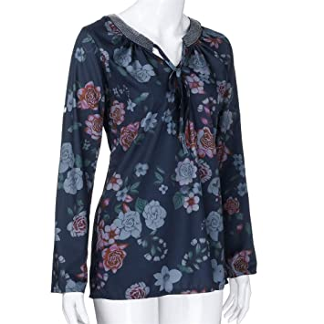 55a166b147d41 Image Unavailable. Image not available for. Color  Plus Size Women Casual  Floral V Neck T Shirt Long Sleeve Tops Blouse (2XL